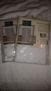 Set of 2 New White Curtain Panels