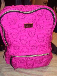 Betsey Johnson pink skull quilted book bag euc only used a few times no stains no tears