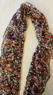 H&M long floral ruffled scarf