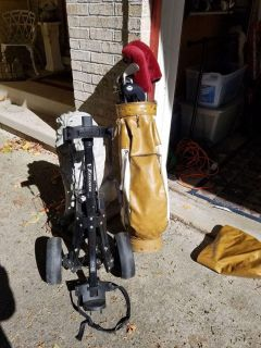 Used Golf Clubs with pull cart