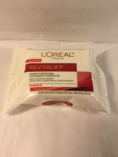 L Or al Revitalift Make up removing cleansing towelettes with vitamin E, 30 count