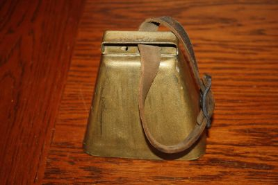 Large Vintage Antique Gold Cow Bell with Leather Strap