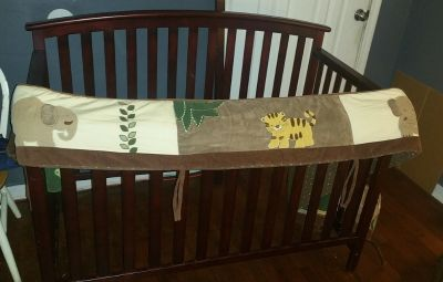Crib/Toddler Bed - Dark Wood + Matress, Bumper Pad; 3 Sheets