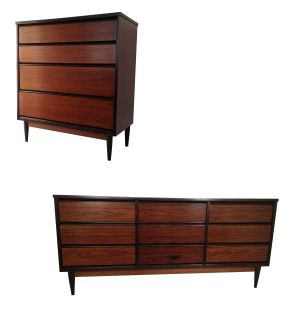 2 pc Mid Century Modern Credenza/ Dresser & Chest