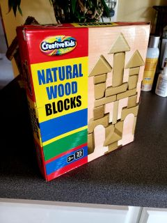 Brand New. Natural Wood Blocks! 35 Pieces