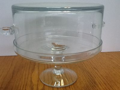 CLEAR GLASS CAKE STAND, PLATE AND BOWL