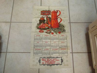Vintage Linen Kitchen Calendars -- Years 1970 & 1979