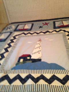 Hand stitched lighthouse queen quilt