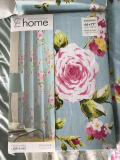 Designer baby blue and pink floral curtains