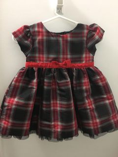 Carters 6mo baby girl holiday plaid red dress