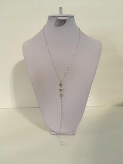 New Beautiful Silver Tone and Rhinestone Chain Necklace