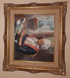 """Oil Paint on Canvas by A. Rosenthal Grandmother Scene 12.4 X 10"""""""