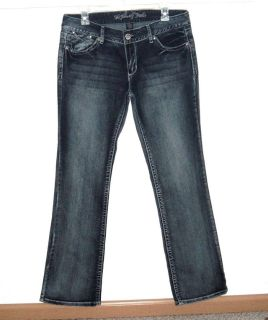 Myth of Jade Flap Pocket Embroidered Boot Cut Denim Jeans Womens 10 x 31
