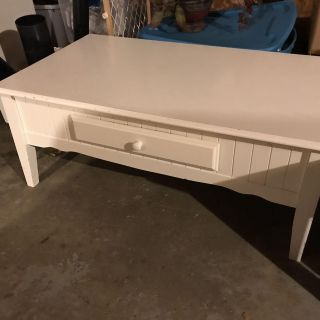 Cute white coffee table with drawer