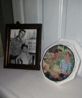 """Andy and Opie in beautiful 10 by 12 frame & Plate of Andy & Opie 8"""" diameter wh certificate new in foam."""