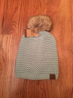 C.C ADJUSTABLE BEANIE FAUX FUR - MINT (COMPLETELY OUT OF STOCK) - ONLY ONE THIS COLOR THIS PRICE - THEY ARE NO LONGER ON SALE FOR THIS PRICE
