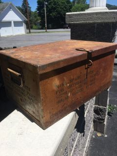 Older metal box with lid and handles