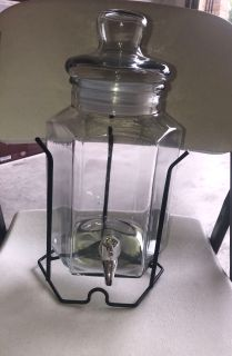 Medium-sized Glass Drink Dispenser with stand.