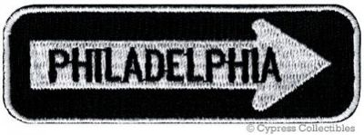 Sell PHILADELPHIA ROAD SIGN BIKER PATCH embroidered iron-on MOTORCYCLE VEST EMBLEM motorcycle in Austin, Texas, United States