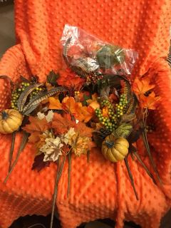 Lot of 11 Fall Floral Pieces. All new. Also a bag of pumpkins, leaves and feathers. All for $4.00. Above Landa Park.