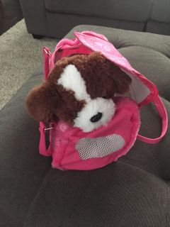 Puppy stuffed animal with carrying case