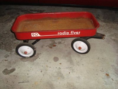 1960's Vintage RADIO FLYER 90 Wagon 34 x 15 x 4 Red PICKUP JUSTICE ILLINOIS