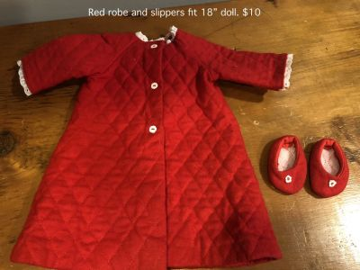 "Red Nightgown and Slippers fit 18"" doll"