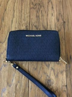 AUTHENTIC Michael Kors Navy wallet with wrist strap