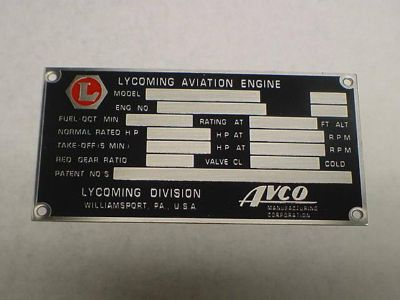 Sell Lycoming AVCO Aircraft Engine Data Plate etched in stainless steel motorcycle in Veradale, Washington, US, for US $185.00