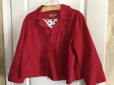 Red jacket Blazer with inside polkadot With pockets-unique Excellent condition porch pick up size extra-large