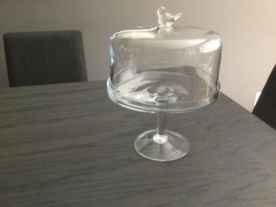 Large glass stand with lid and little glass bird attached no chips or stretches