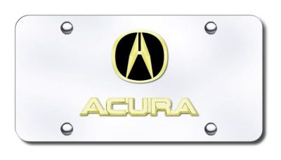 Find Acura Dual Acura Gold on Chrome License Plate Made in USA Genuine motorcycle in San Tan Valley, Arizona, US, for US $40.40