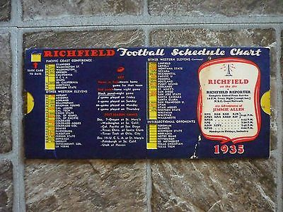 1935 richfield gasoline reporter college football schedule-calculator style card