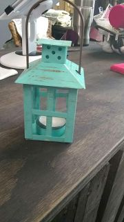 New with tags mini farmhouse lantern with tealight candle.