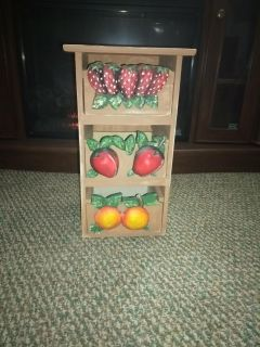 Pier 1 wood storage w/ fruit on drawers ( shipping available)