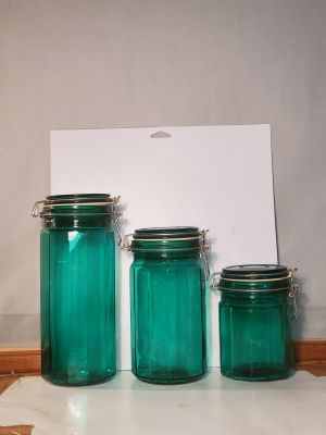 "Vintage Aqua Turquoise Glass Kitchen Canister Set -with Wire Bale Closure 12-Sided 10"", 8"", 6"" Tall"