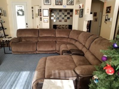 Recliner sofa sectional with chase lounger