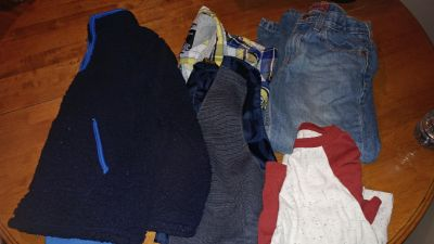 Size 8 lot - includes a fleece sweater, a vest, button up shirt, long sleeve shirt and jeans