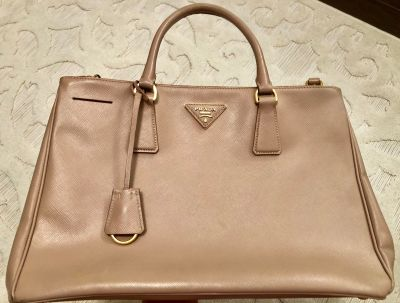 Prada Saffiano Medium Double Zip Tote in Cammeo Authentic