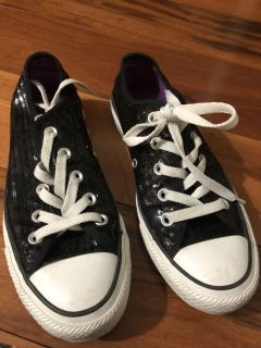 Black Sequins Chuck All Stars Converse Sneakers