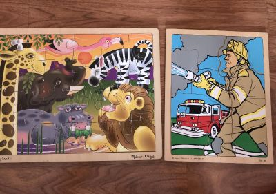 2 wooden toddler puzzles