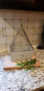 """Distressed Green Wood Bottom with Chicken Wire Top Cloche. 9"""" W x 14"""" T x 5.5"""" D."""