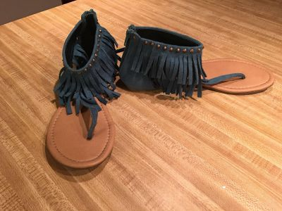 Teal suede sandals from Charlotte Russe zip up the back