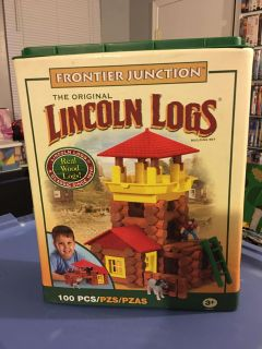 """ORIGINAL- """"LINCOLN LOGS"""" - FRONTIER JUNCTION- REAL WOOD LOGS - SAYS 100 PIECES - THERE IS 110 !! HOURS OF IMAGINARY FUN & MOTOR SKILLS !"""