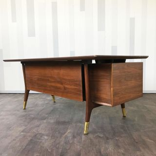 Mid Century Walnut Executive desk by Alma Desk Com