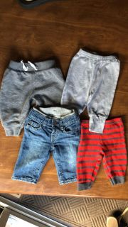 3-6 month GAP jeans and various 3-6 mo pants