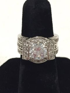 Beautiful Cubic Zirconia Sterling Silver Platinum Plated Ring