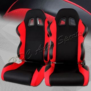 Buy Universal Black / Red TYPE-7 Fully Adjustable Cloth Bucket Racing Seats +Sliders motorcycle in Walnut, California, United States, for US $249.99