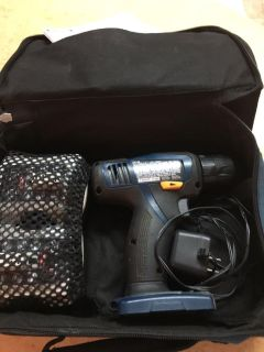 RYOBI DRILL, WITH CASE & BATTERIES