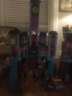 All of the monster high stuff! HUGE house plus furniture, RV, scooter, 6 dolls plus extras , flash sale